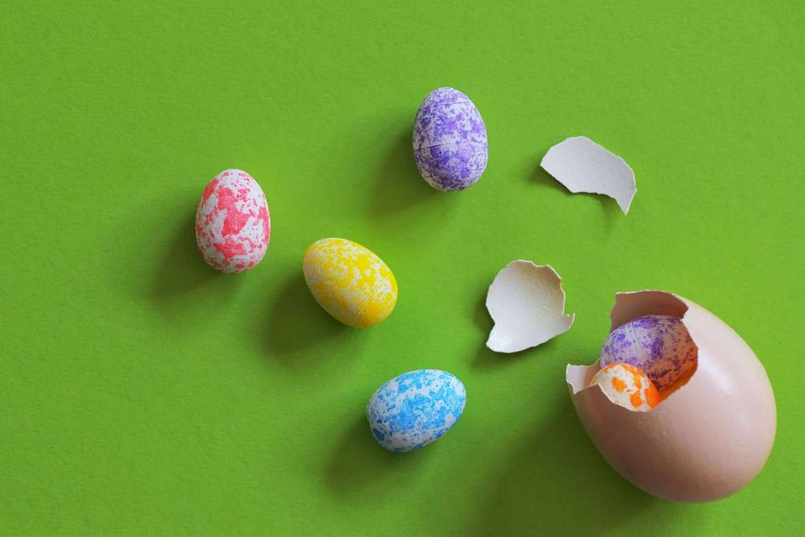 A green background with an egg cracked open with coloured eggs spilling out