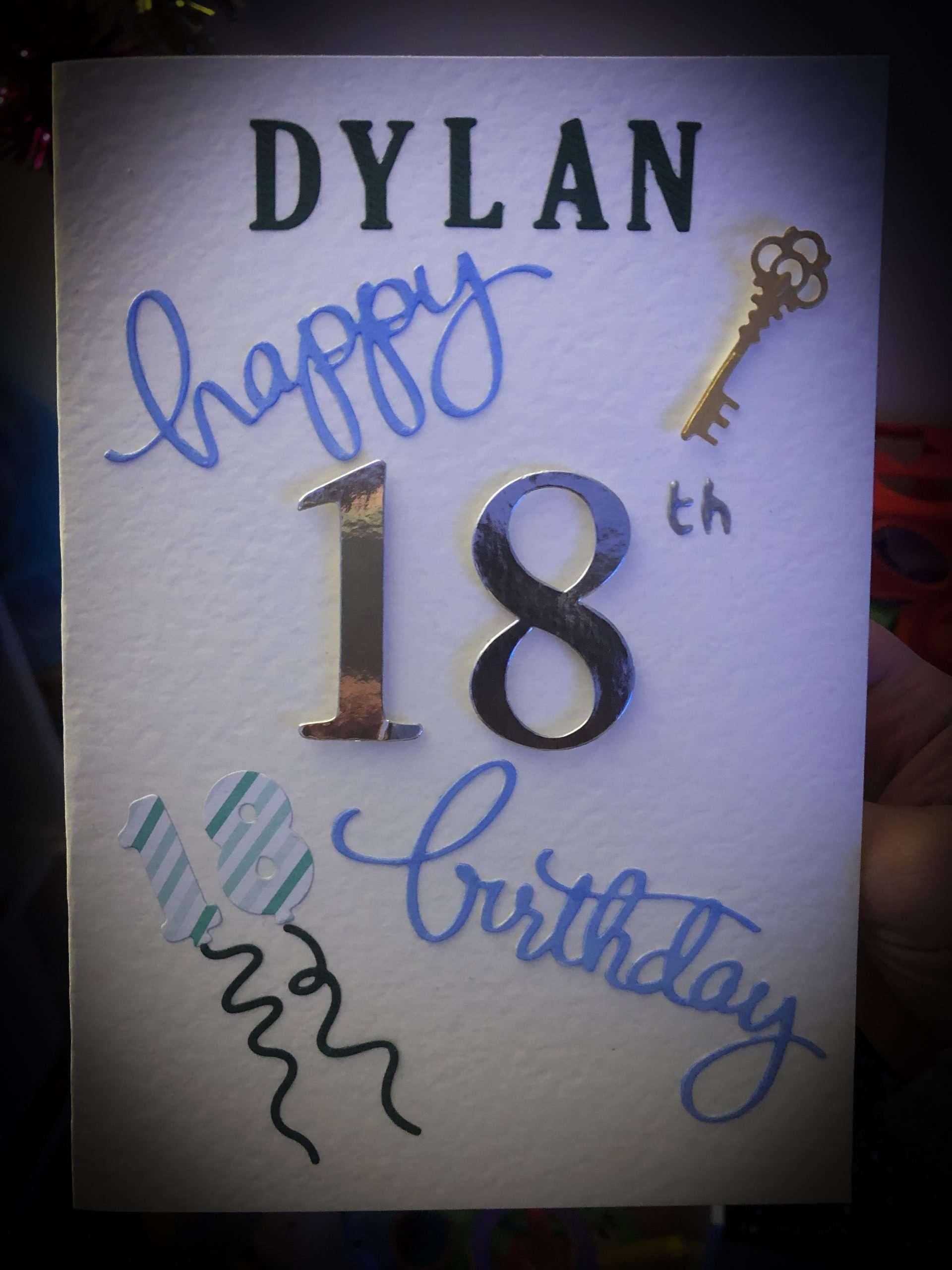 Dylans 18th Birthday card