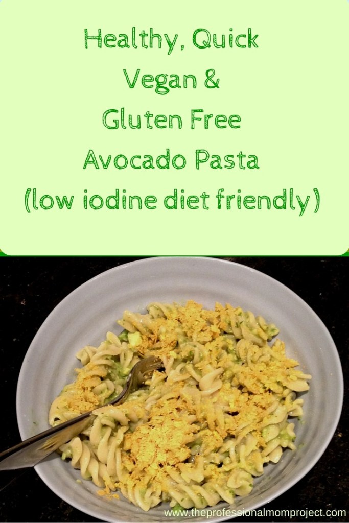 Are you preparing for radioactive iodine treatment for thyroid cancer? Looking for an easy low iodine diet weeknight meal? Give this vegan gluten free quick and easy avocado pasta dish a try.