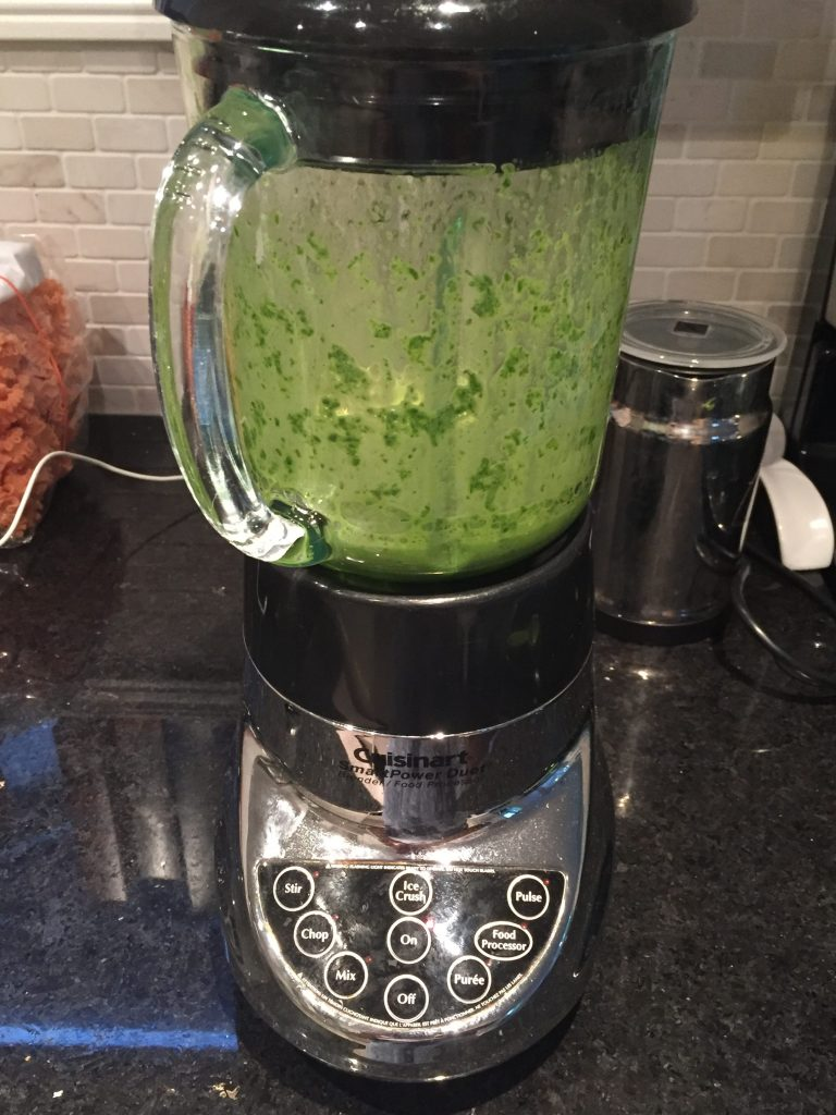 Blend your spinach and nut milk first for a smoother vegan superfood smoothie