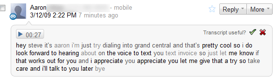 First txt from Voicemail in Google Voice