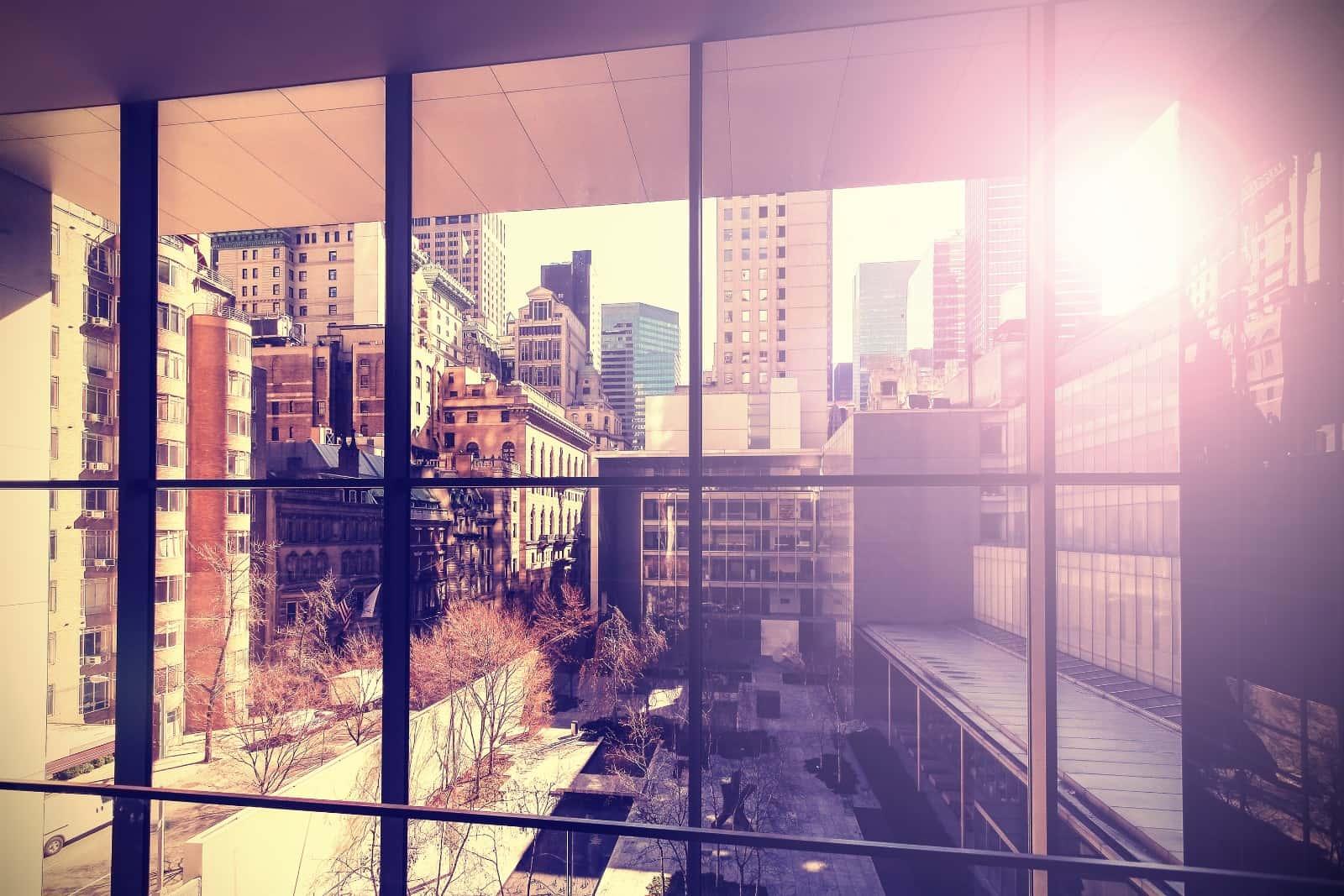 Sun shining through office window