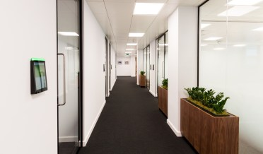 A photo of our new Leeds office's corridor