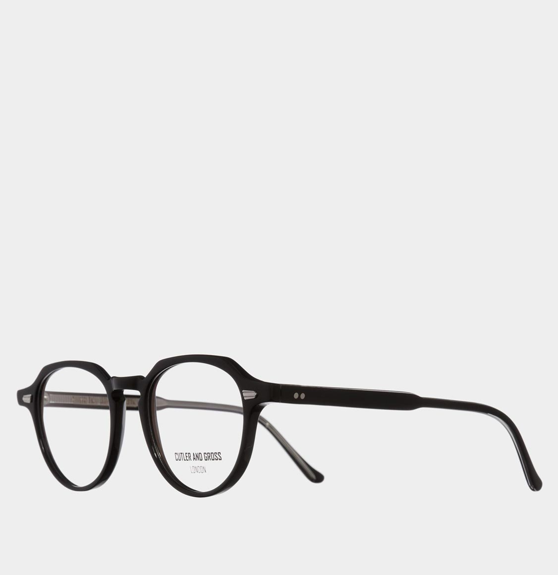 Cutler and Gross Hexagonal-Frame Black Acetate Optical Glasses
