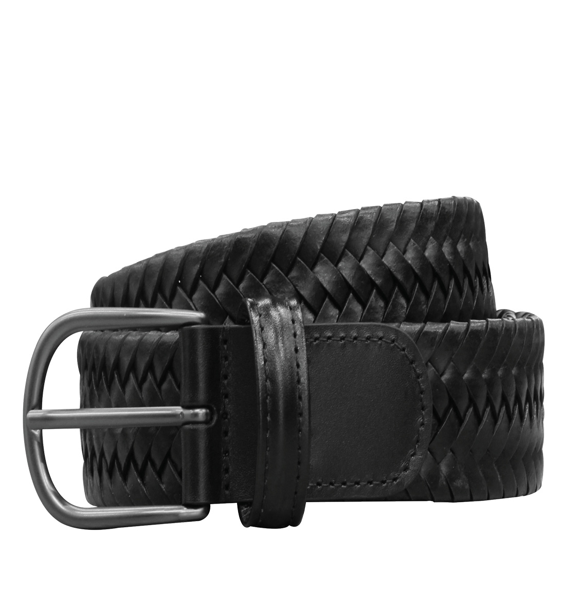 Anderson's Woven Leather Belt Black