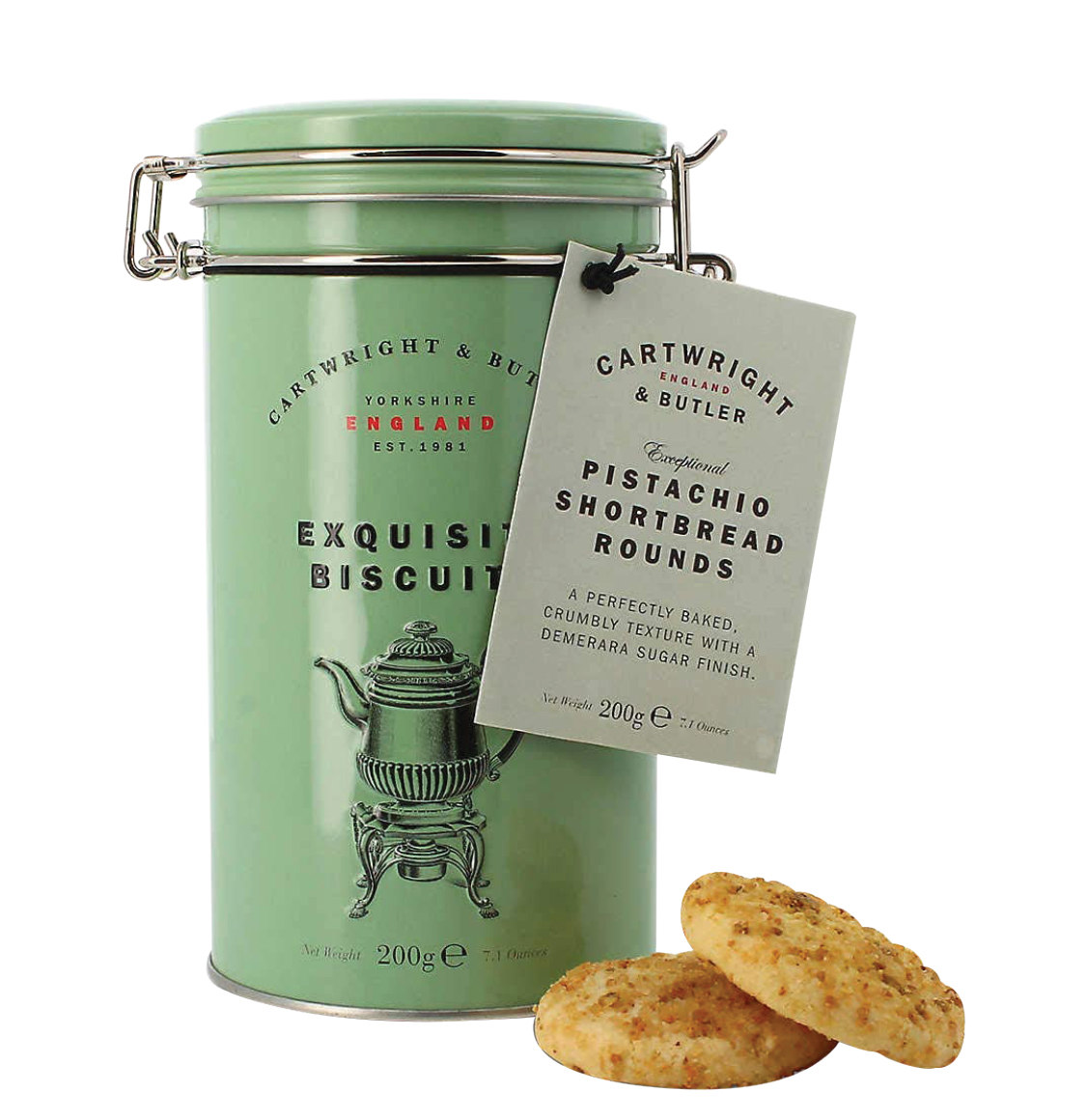 Cartwright and Butler Pistachio Shortbread Rounds 200g