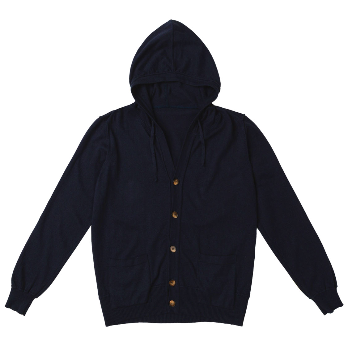 Cotton Blend Knitted Hooded Sweater Navy Blue