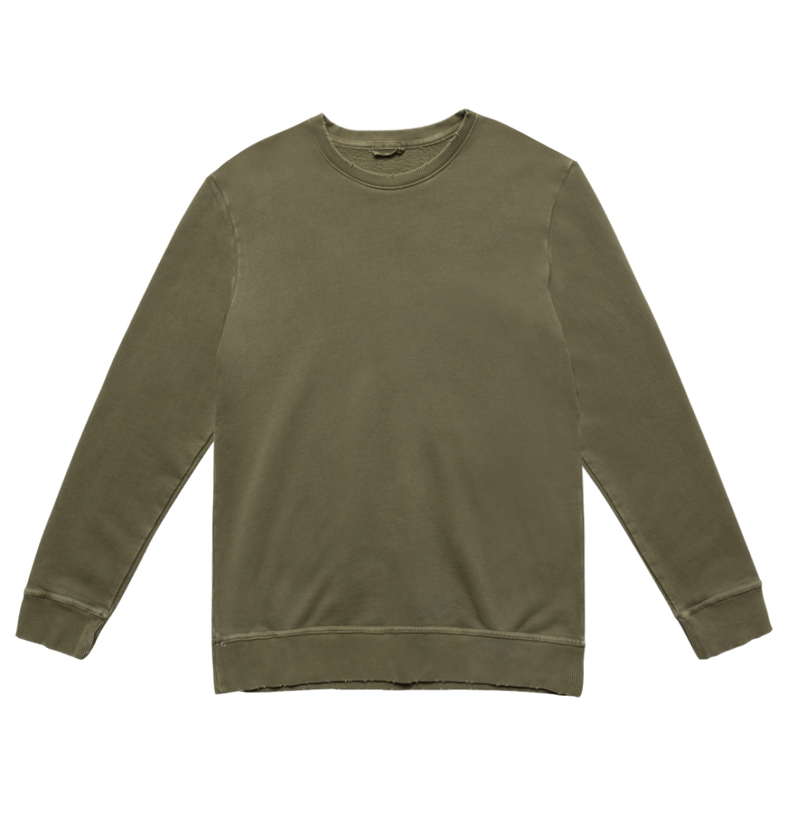 Distressed Crew-Neck Sweatshirt Khaki