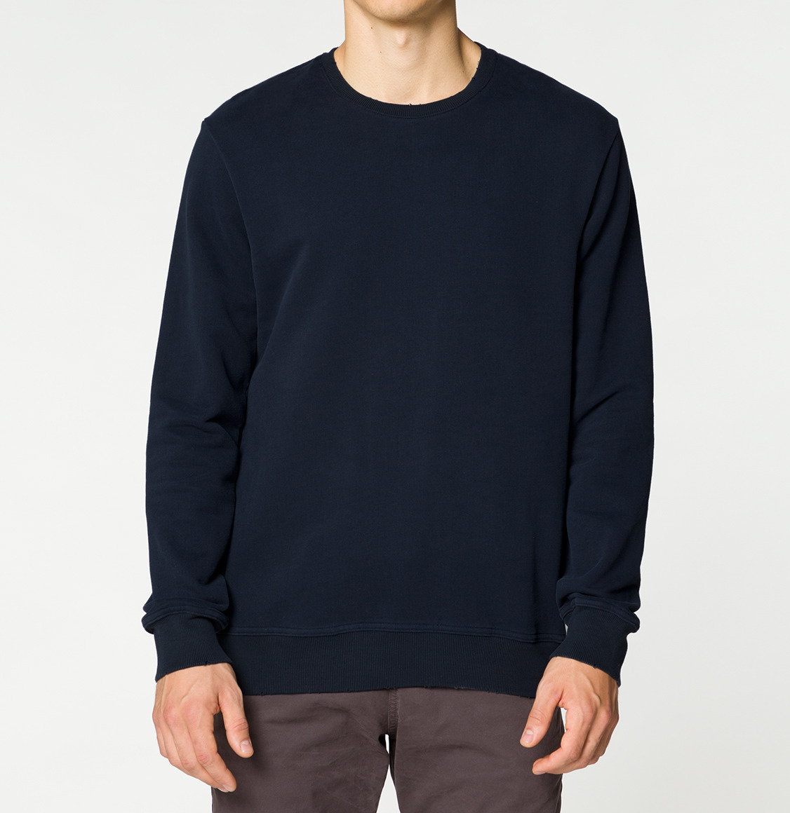 Distressed Crew-Neck Sweatshirt Navy Blue