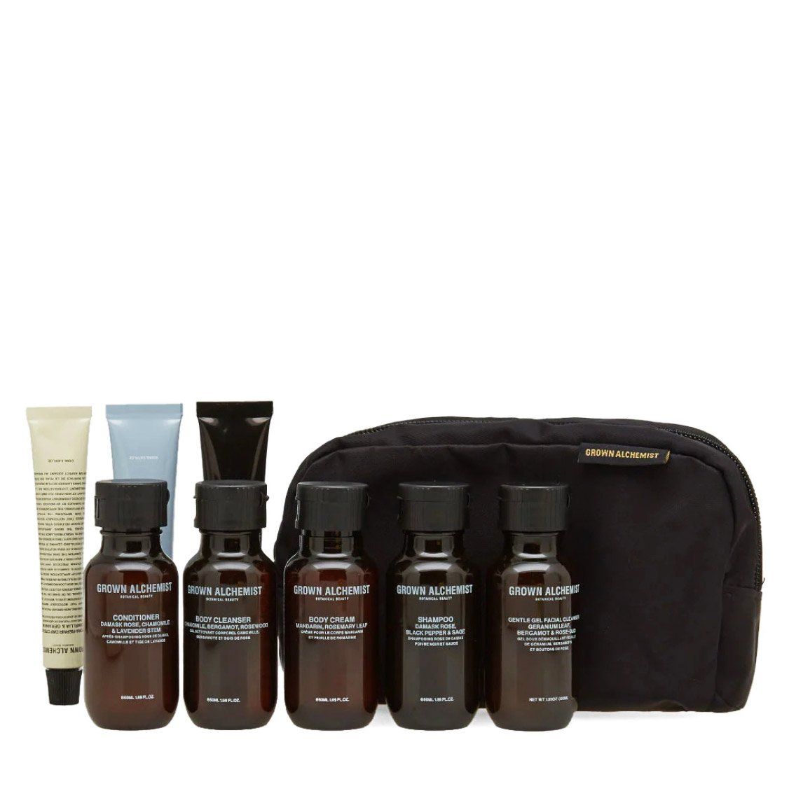 Grown Alchemist Travel Kit facial cleanser 50ml body cleanser 50ml body cream 30ml shampoo 50ml conditioner 50ml hand cream 20ml facial exfoliant 20ml day cream 12mlg