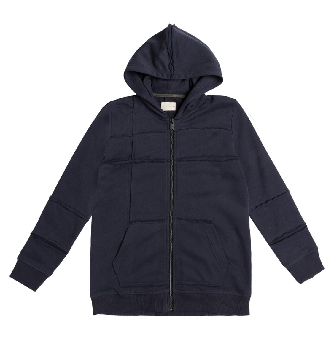 Organic Cotton Laser Cut Zip Up Hoodie Navy Blue
