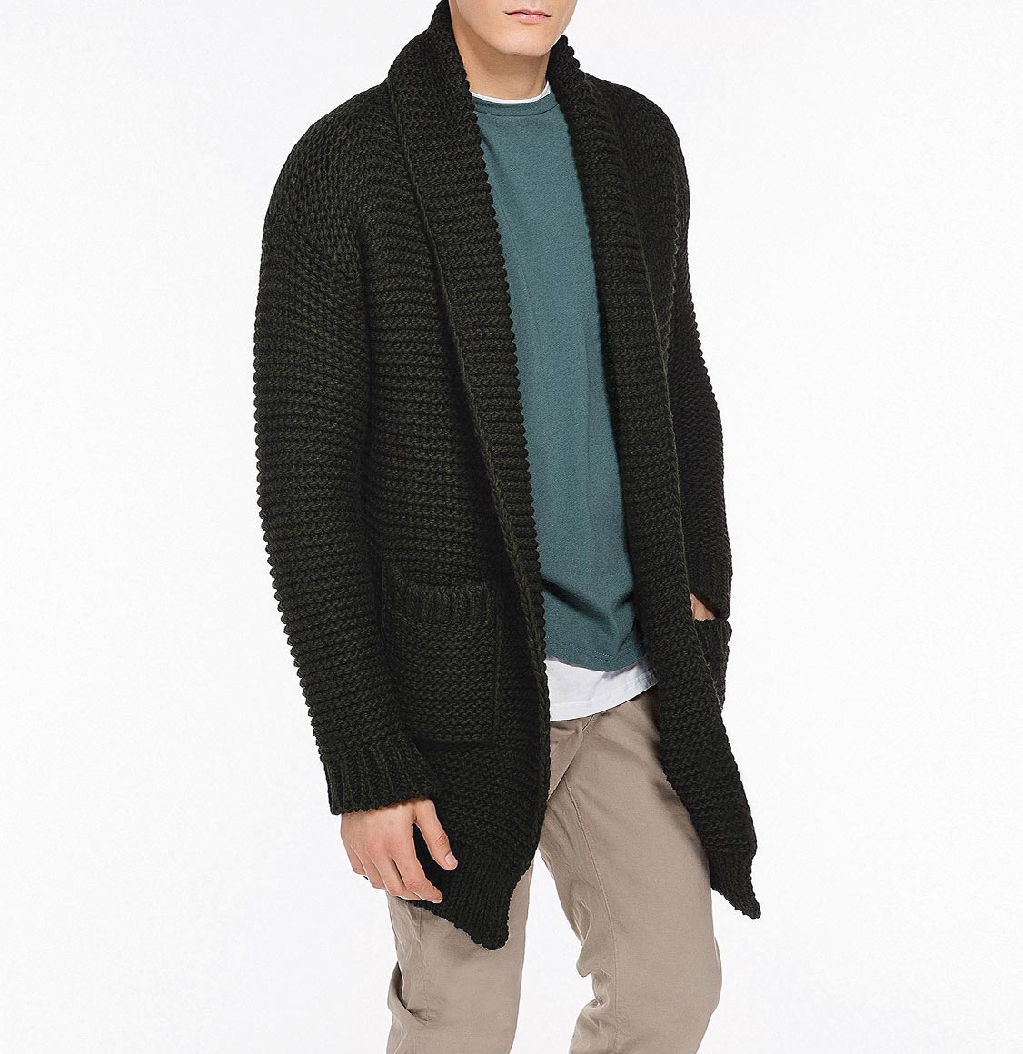 Oversized Shawl Collar Wool Blend Cardigan Army Green
