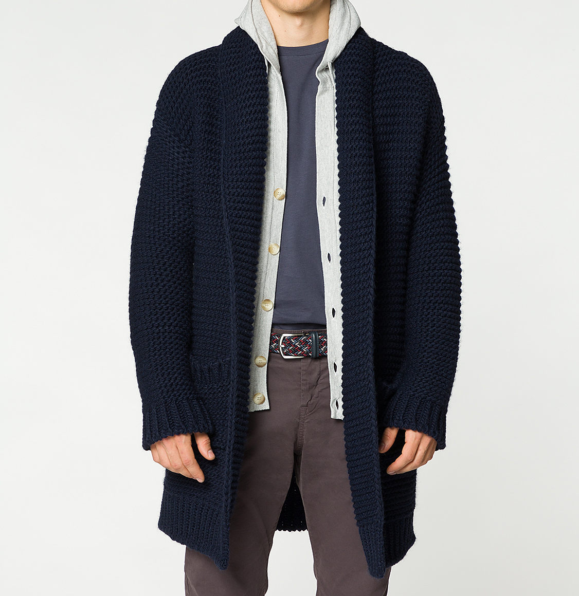 Oversized Shawl Collar Wool Blend Cardigan Midnight Blue