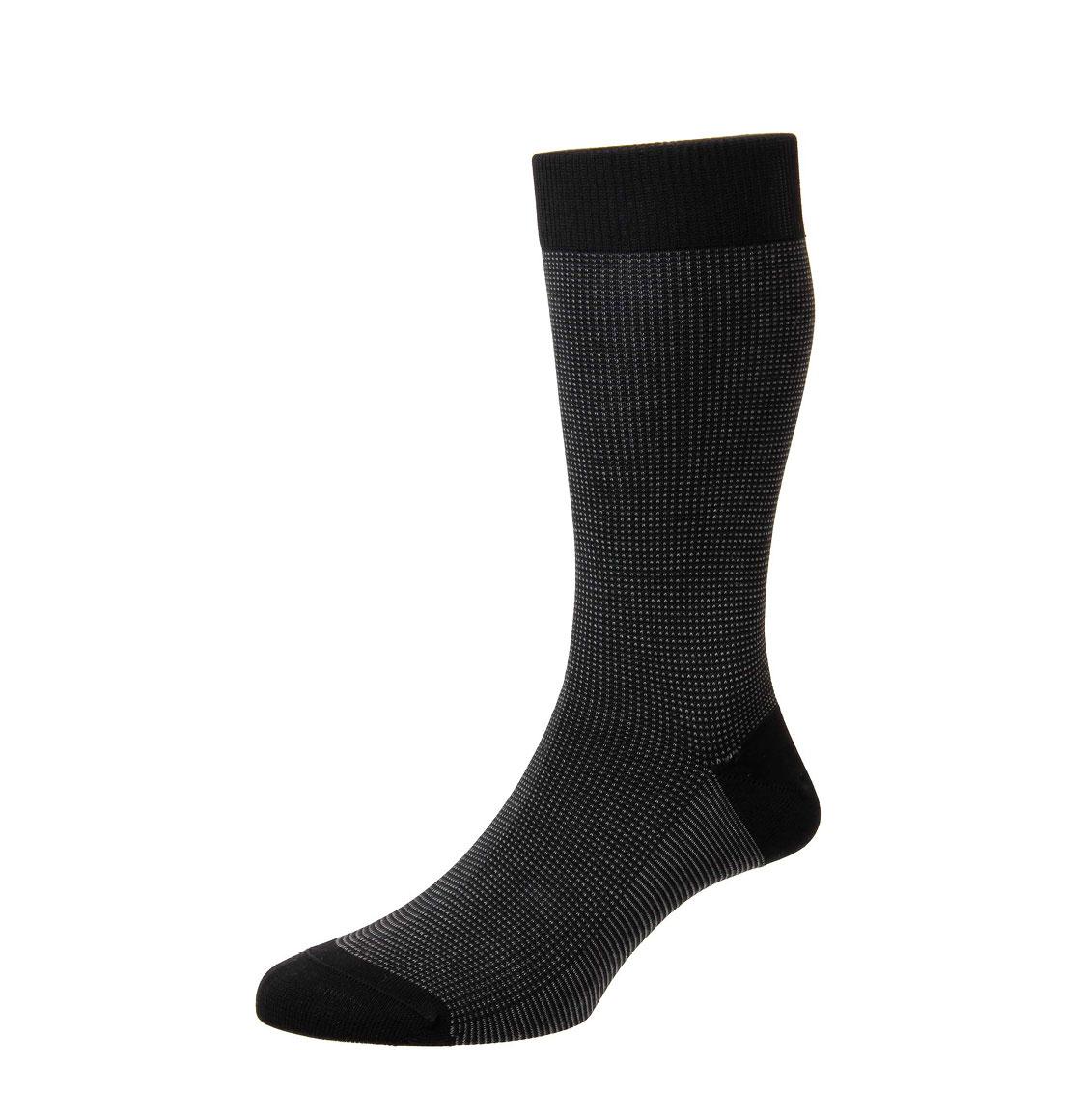 Pantherella Socks Tewkesbury Birdseye Black