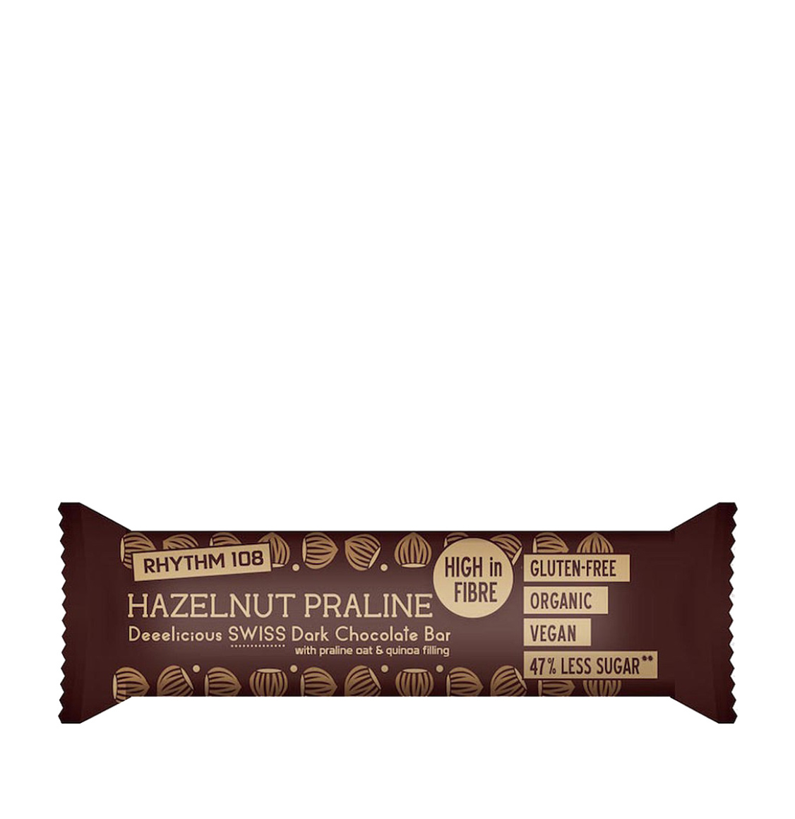 Rhythm 108 Hazelnut Praline Swiss Chocolate Bar 4 x 33g