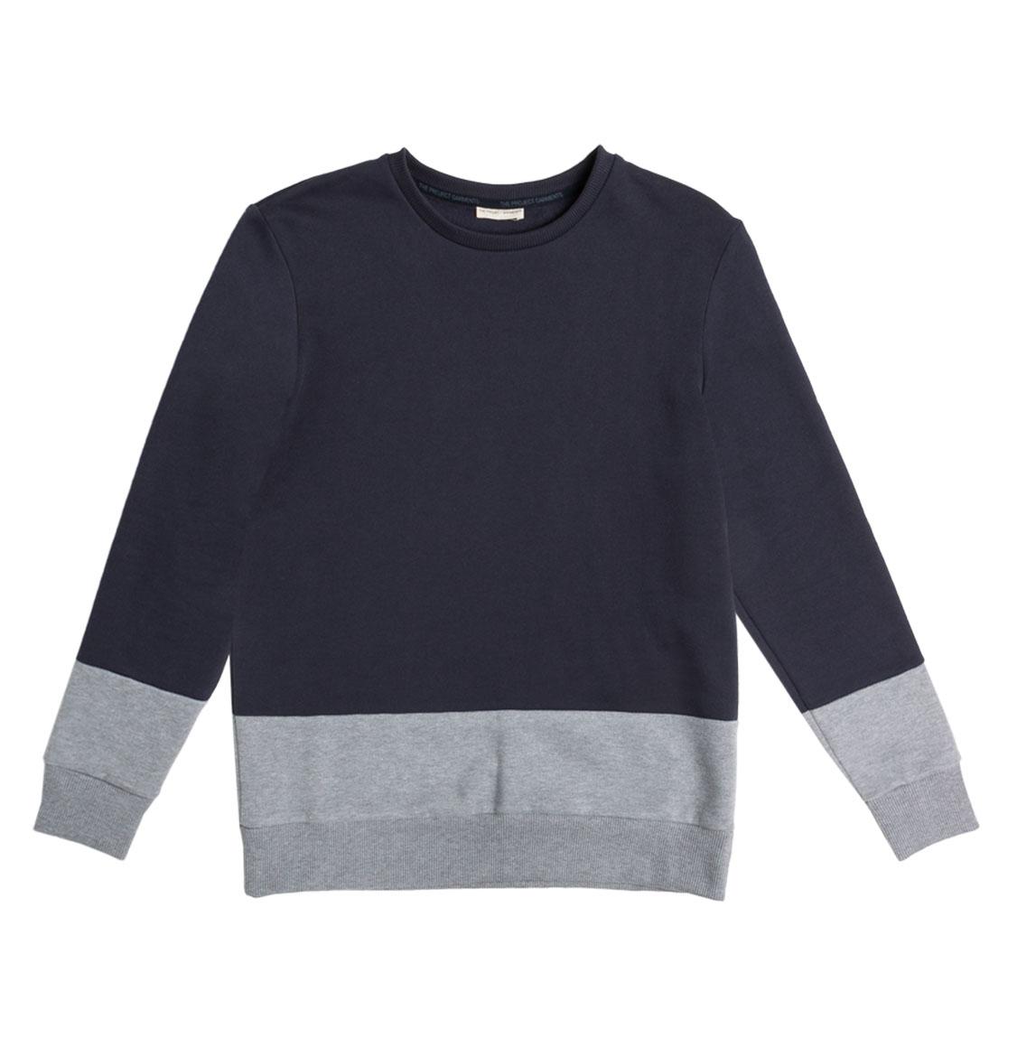 Vertical Color Block Crew Neck Sweatshirt Navy Blue