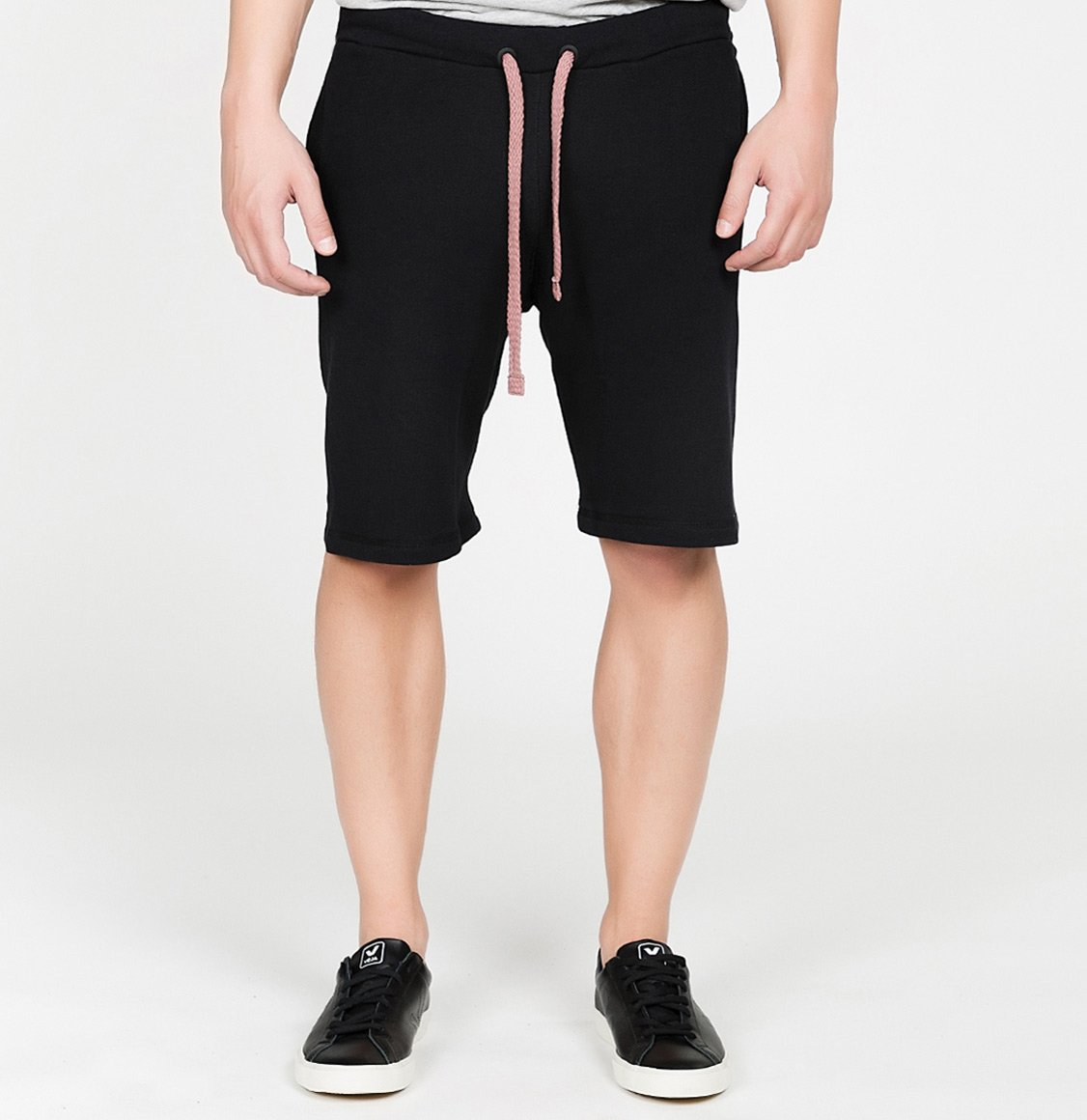 Loopback Cotton Jersey Relaxed Shorts Black