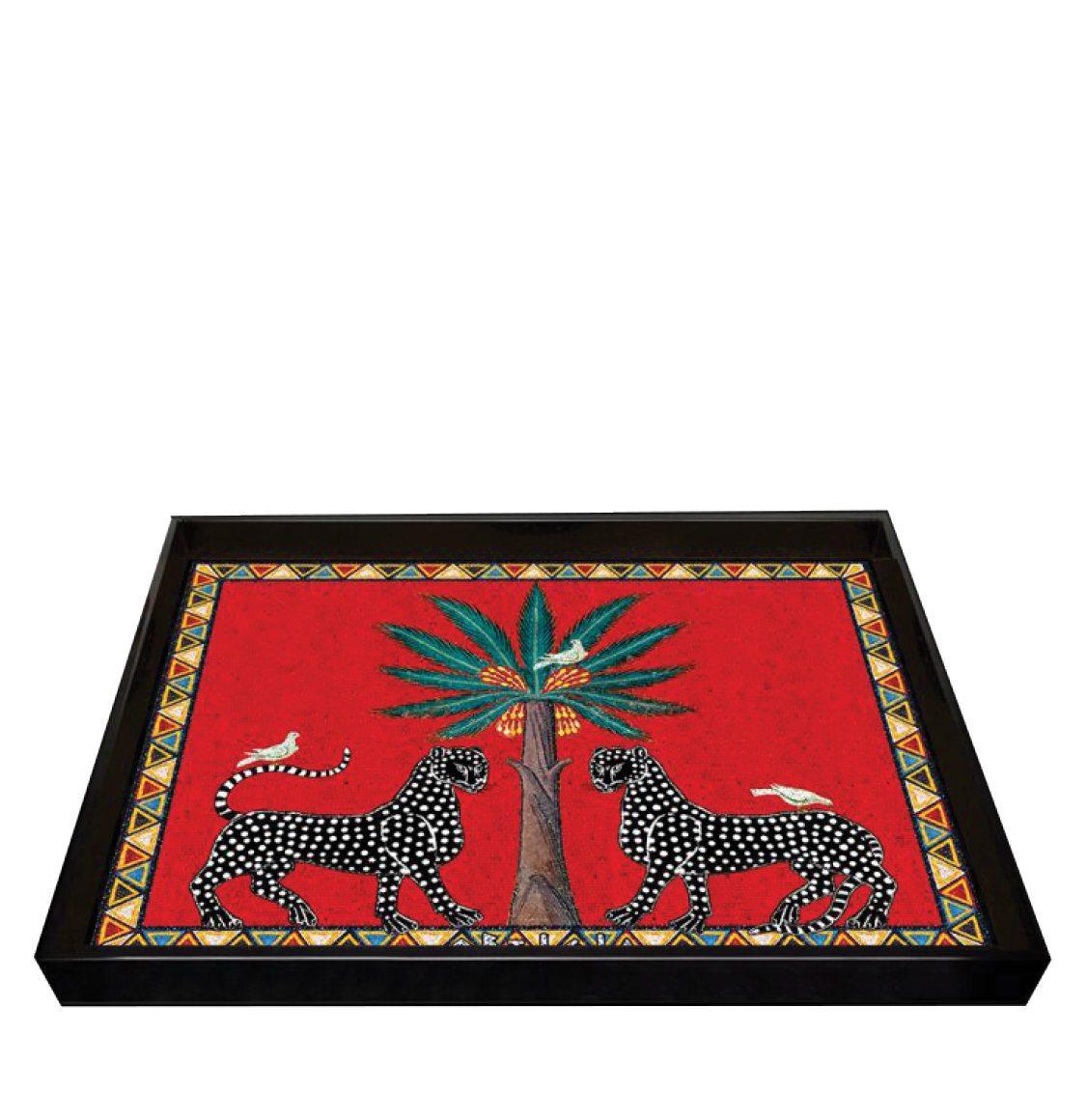 Ortigia Sicilia Hand-Made High-shine Lacquered Wood Tray Red Mosaico