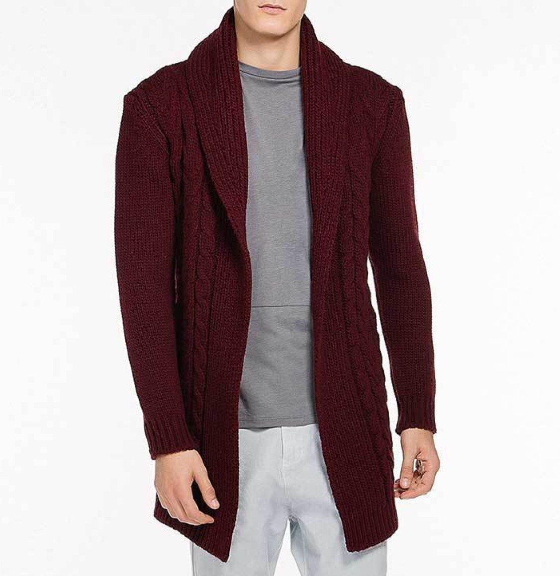 Shawl Collar Wool Blend Belted Cardigan Burgundy