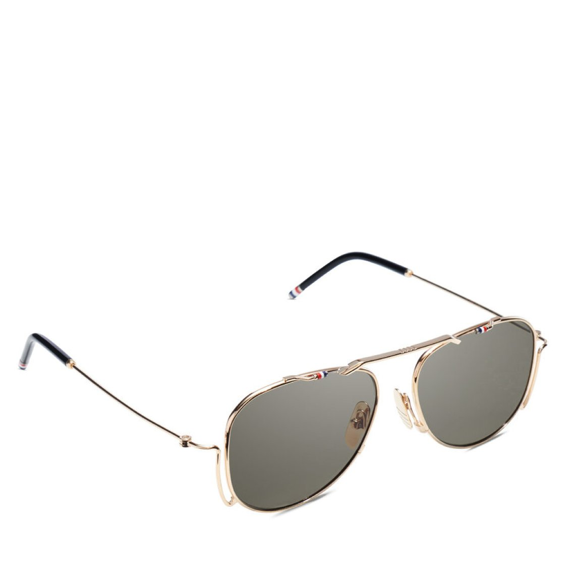 Thom Browne Black Iron White Gold Aviator Sunglasses Γυαλιά Ηλίου