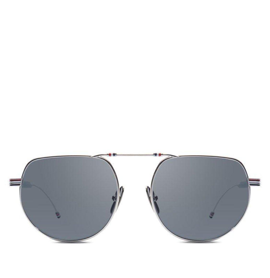 Thom Browne Silver Grey Square Aviator Sunglasses Γυαλιά Ηλίου