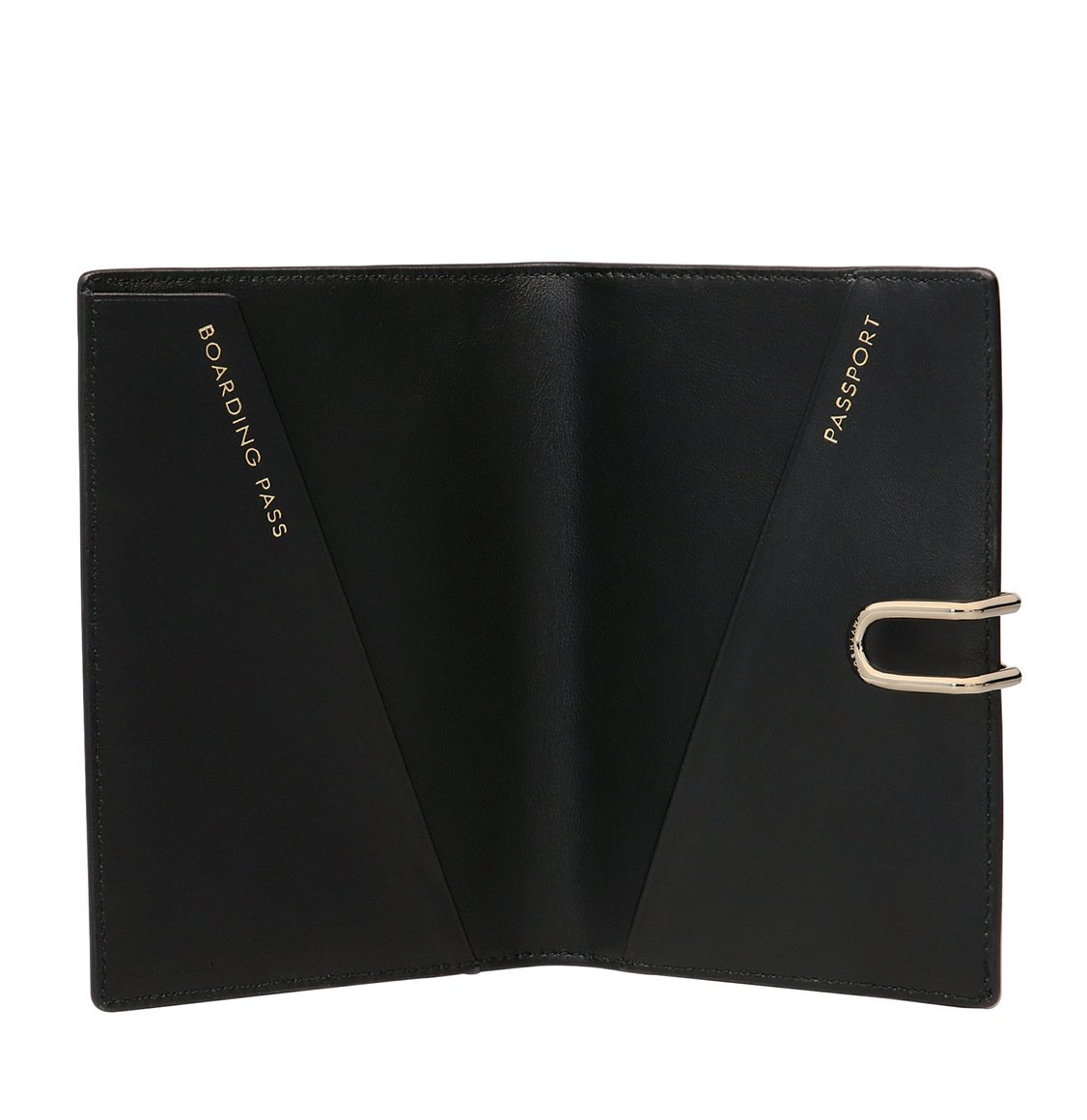 Smythson Panama Cross-Grain Leather Passport Cover Black