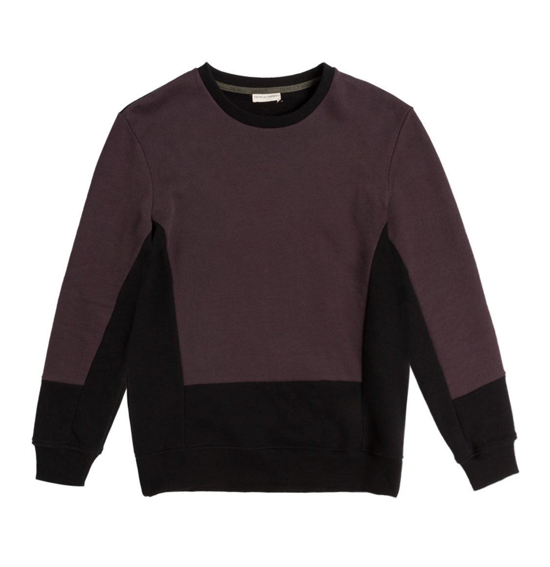 The Project Garments Horizontal Color Block Crew Neck Sweatshirt Burgundy