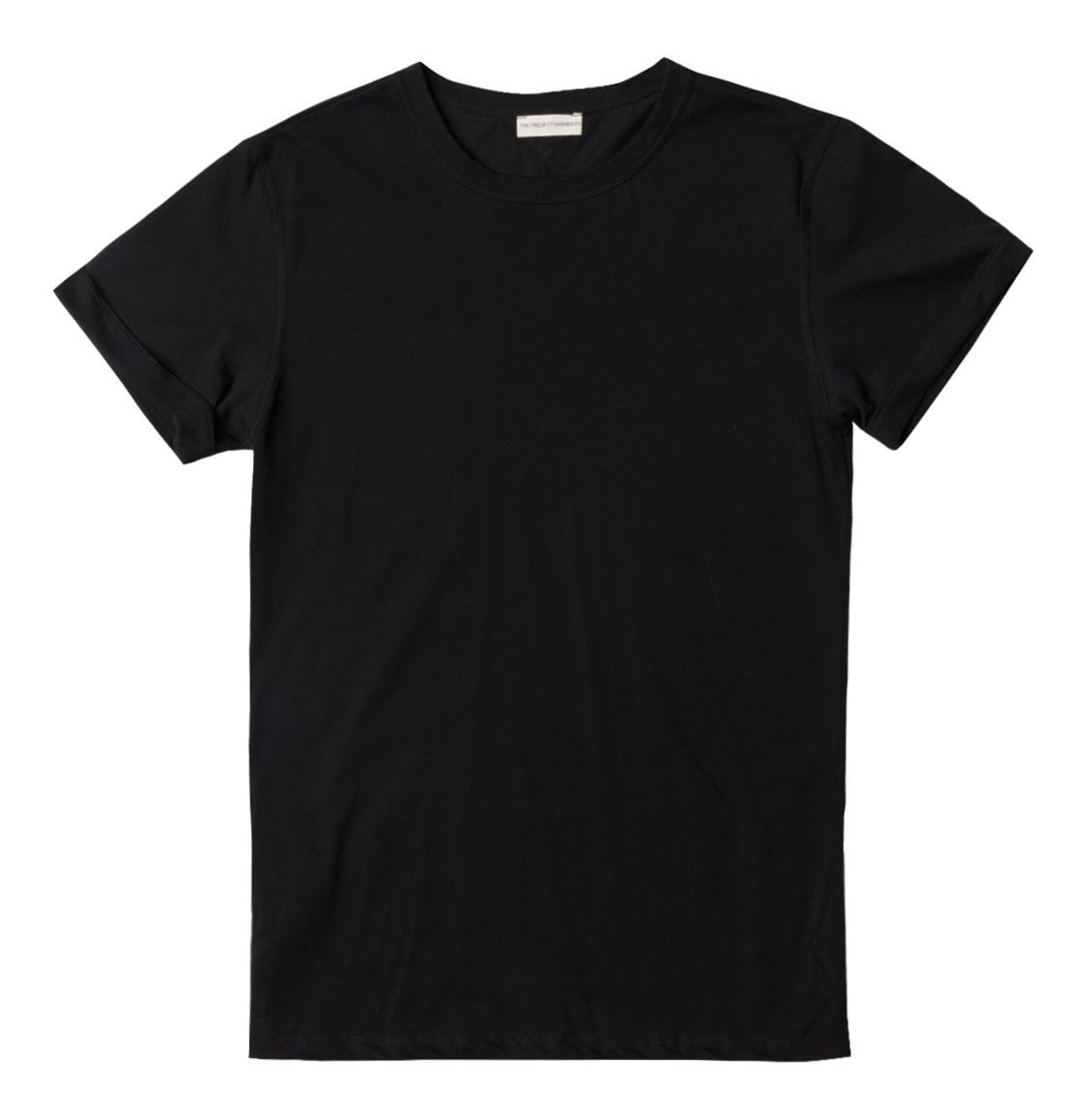 The Project Garments Cotton Jersey Trimmed Crew Neck T-Shirt Black