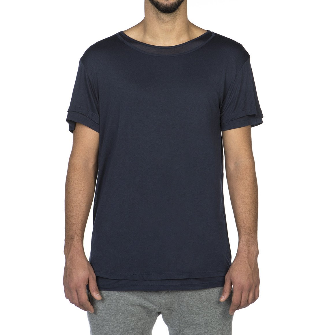 The Project Garments Silk Blend Double Layer Crew Neck T-shirt Navy Blue