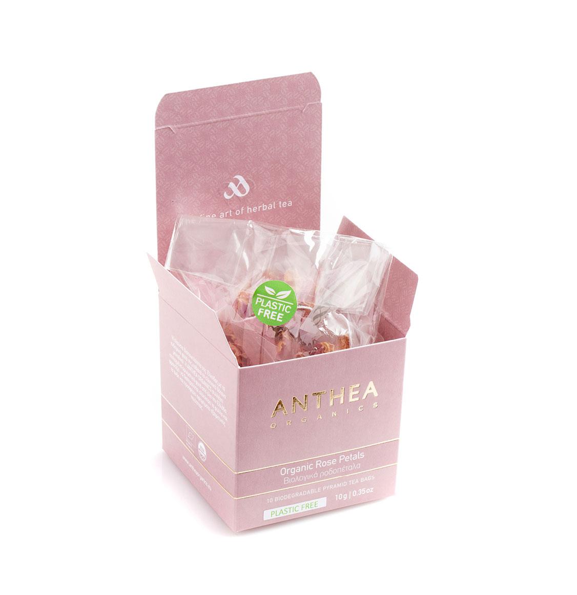 Anthea Organics Βιολογικά Ροδοπέταλα Rose Petals 10 Plastic Free Pyramid Tea Bags