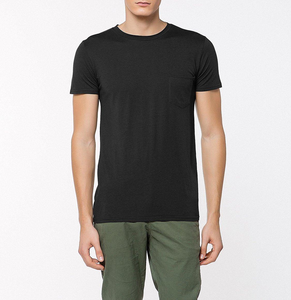 The Project Garments Crew Neck Modal-Blend Pocket T-shirt Charcoal Grey