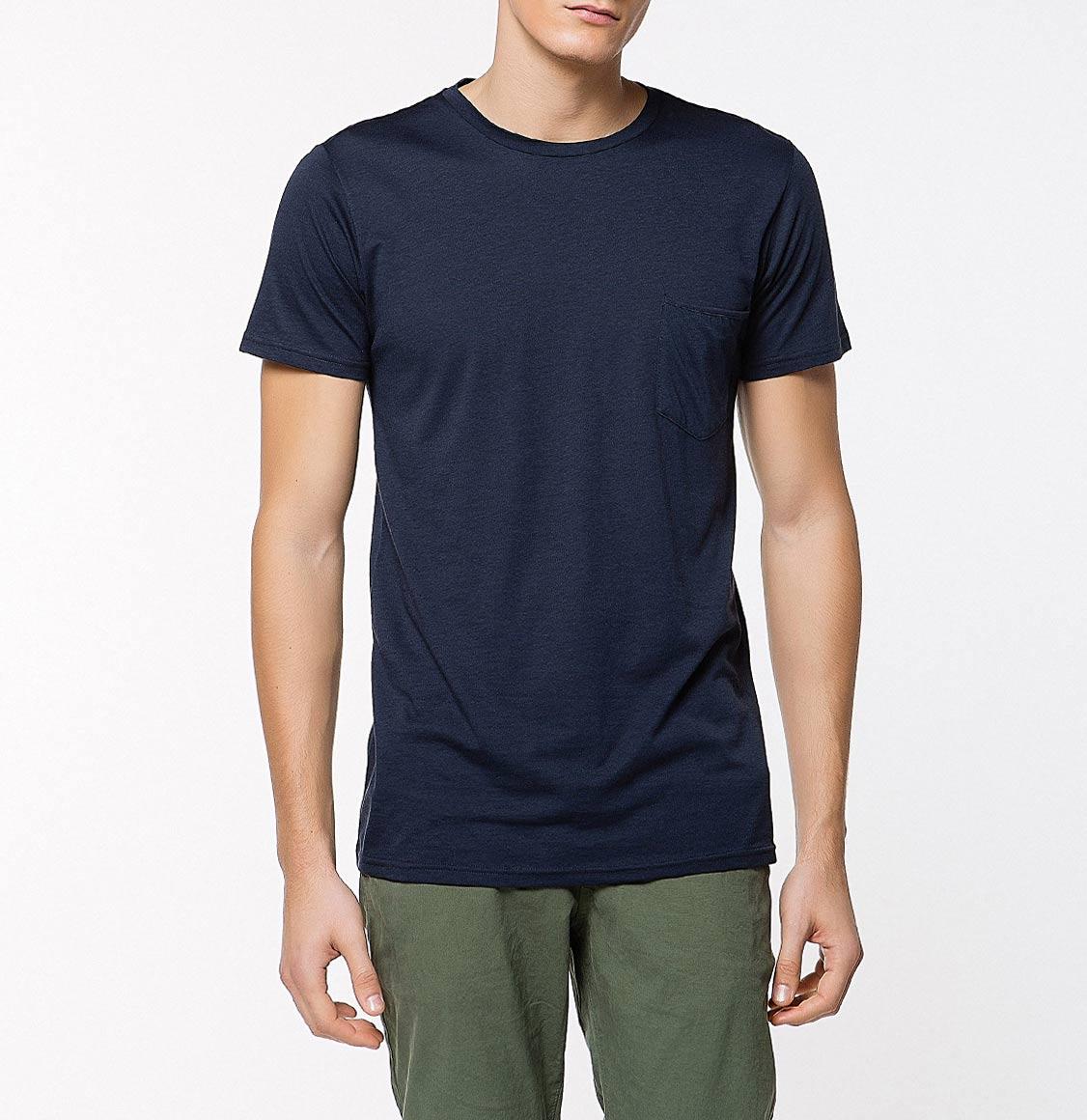 The Project Garments Crew Neck Modal-Blend Pocket T-shirt Midnight Blue