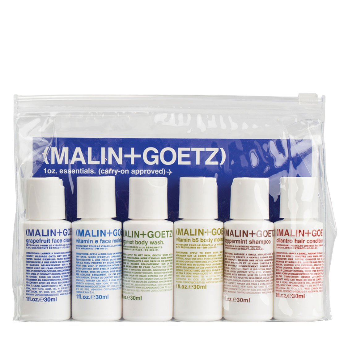 Malin and Goetz Travel Kit | Face Cleanser 29ml | Face Moisturizer 29ml | Body Wash 29ml | Body Moisturizer 29ml | Shampoo 29ml | Conditioner 29ml