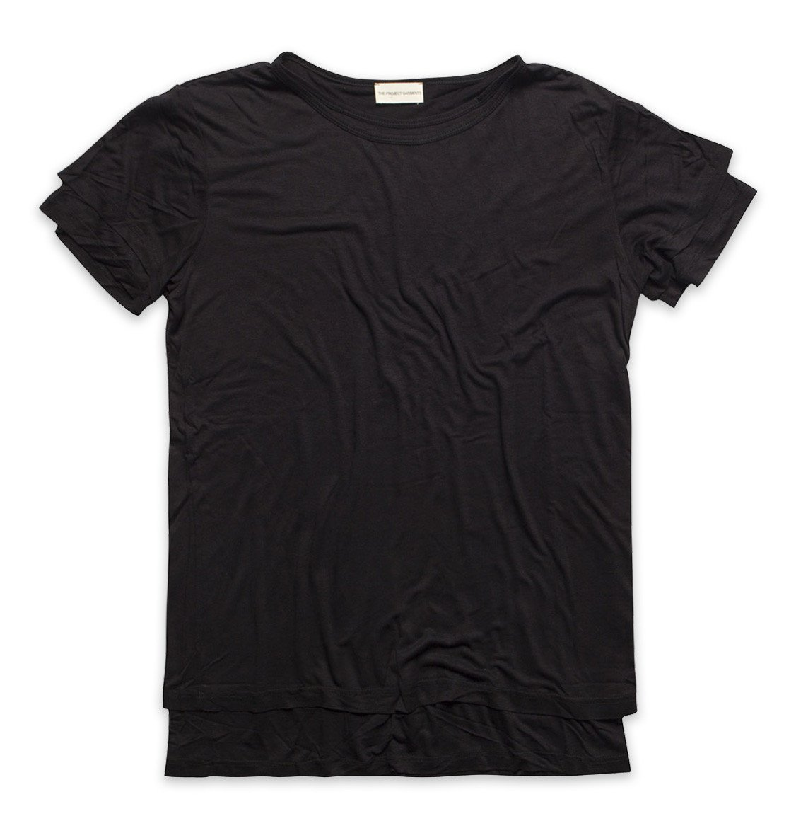 The Project Garments Silk Blend Double Layer Crew Neck T-shirt Black