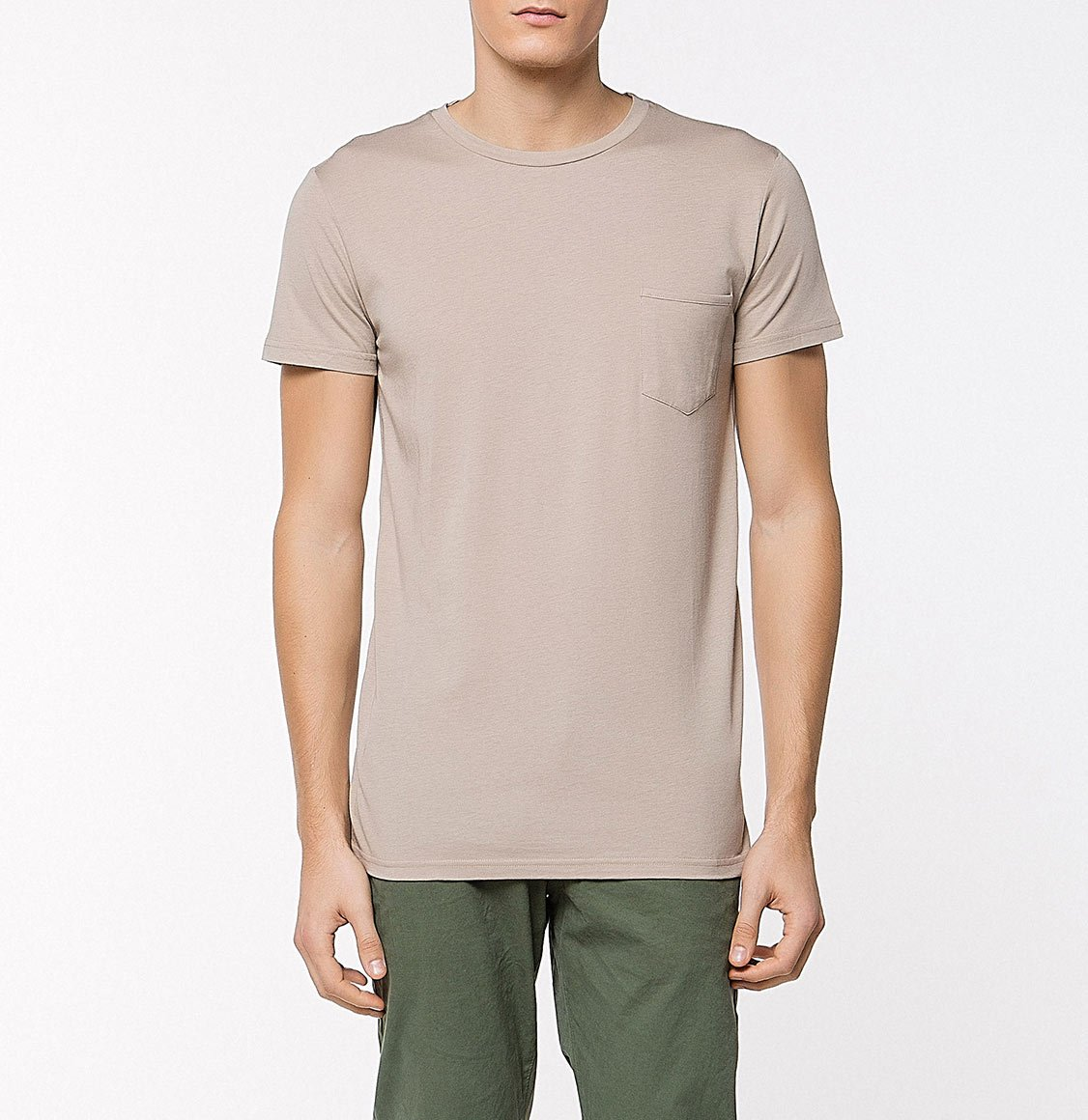 The Project Garments Crew Neck Modal-Blend Pocket T-Shirt Beige