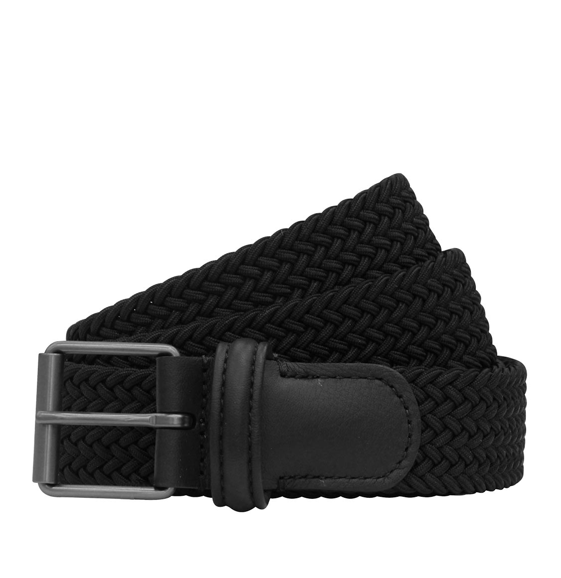 Anderson's Leather-Trimmed Woven Belt Black