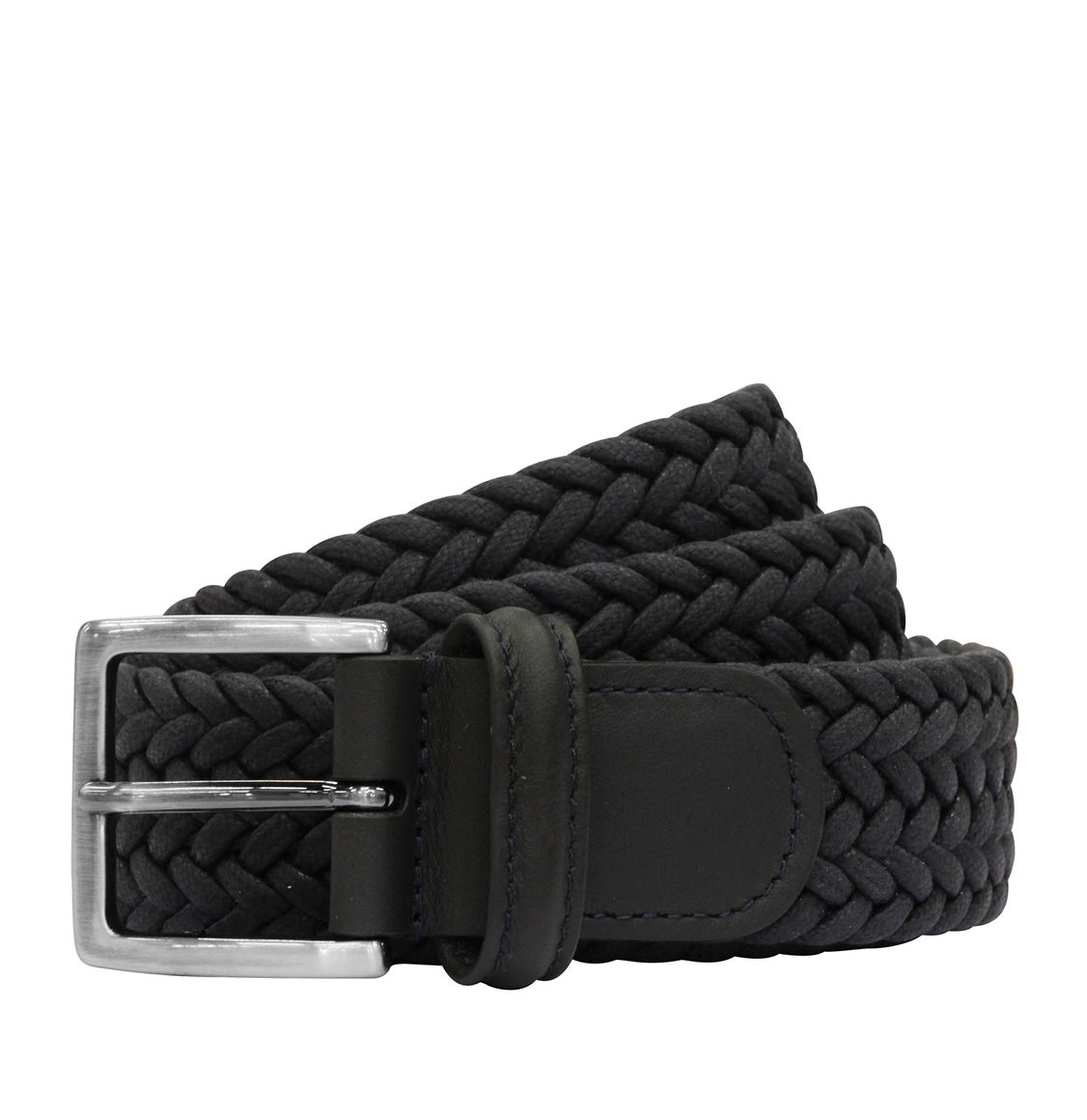 Anderson's Waxed Leather-Trimmed Woven Belt Blue
