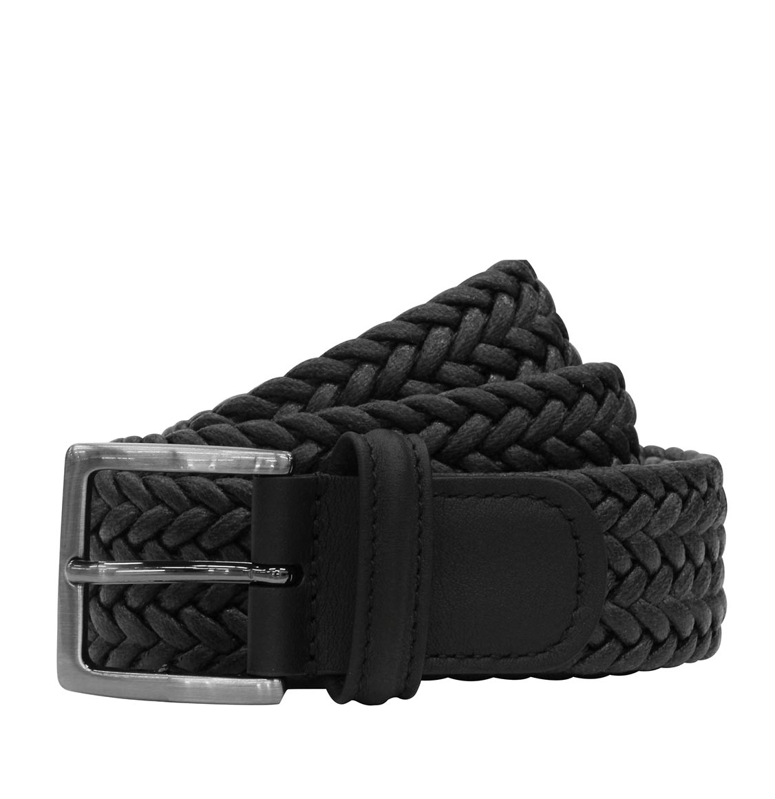 Anderson's Waxed Leather-Trimmed Woven Belt Black