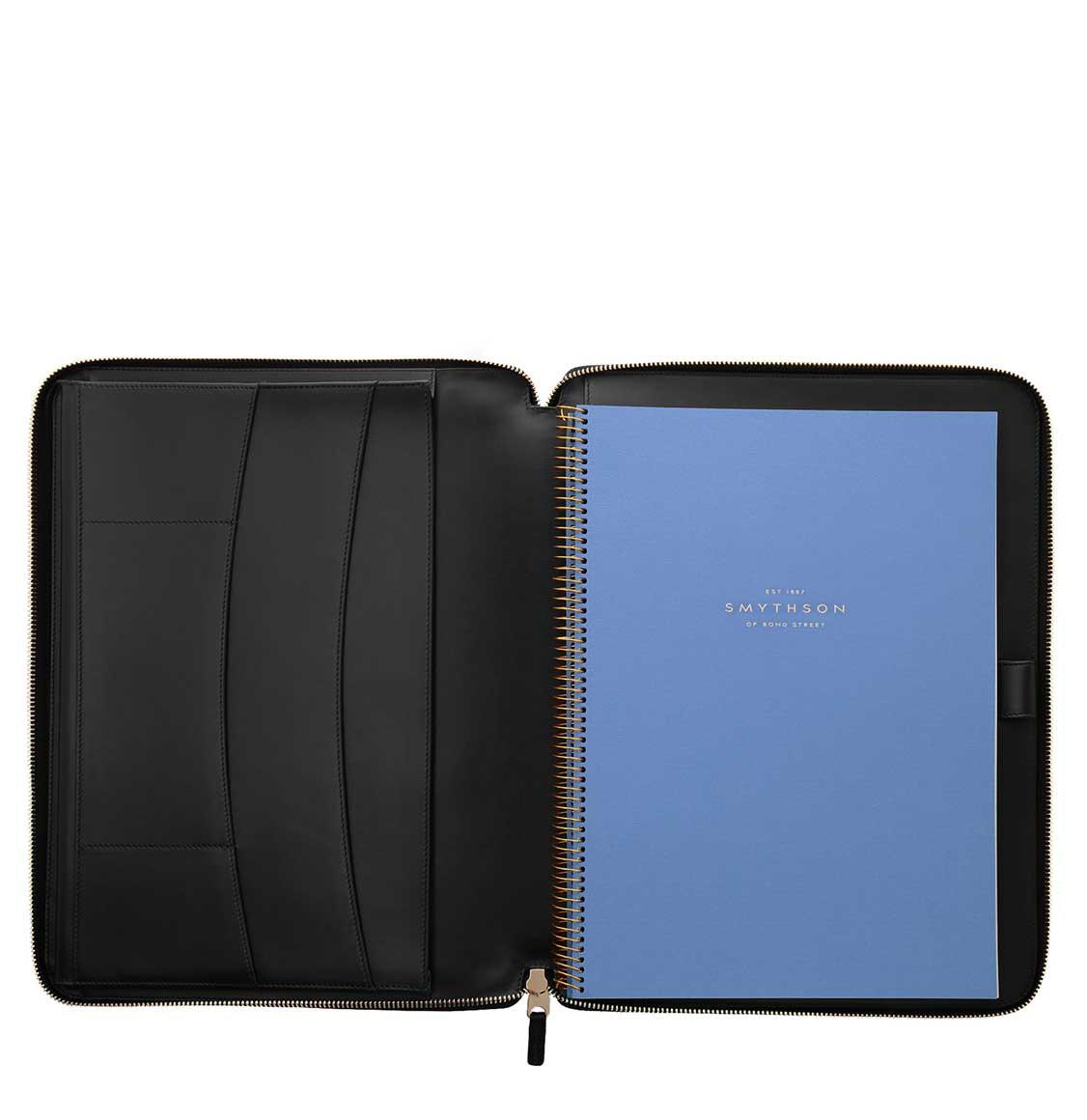 Smythson Panama Cross-Grain Leather A4 Zip Writing Folder
