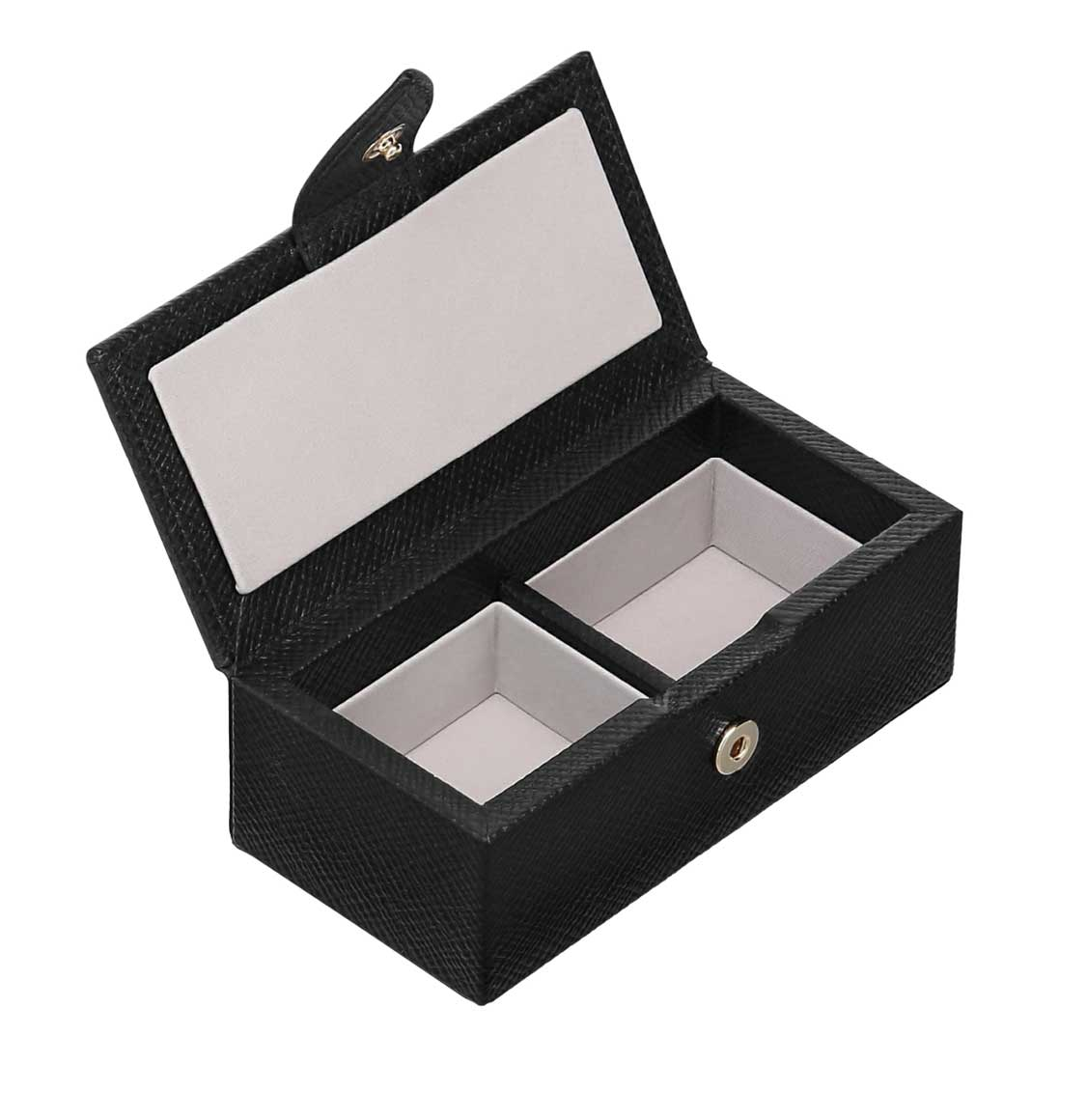 Smythson Panama Cross-Grain Leather Cufflink Box