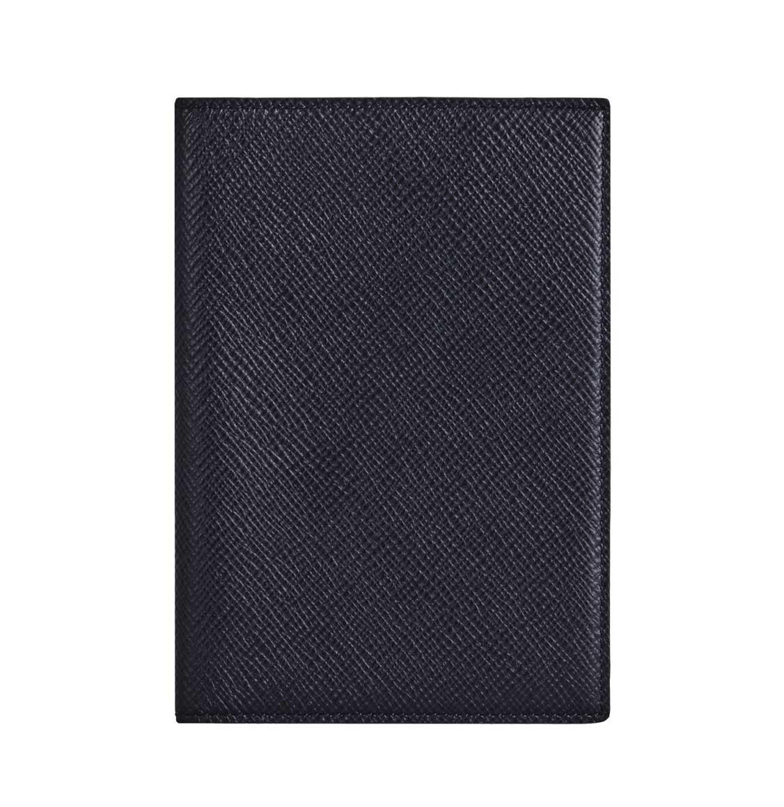 Smythson Panama Cross-Grain Leather Passport Cover Navy Blue