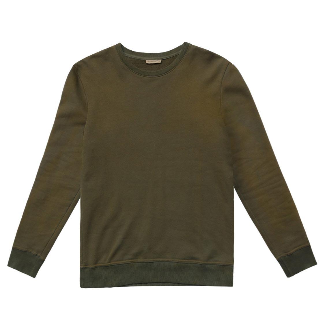 The Project Garments Acid Dye Organic Cotton Crew Neck Sweatshirt Khaki
