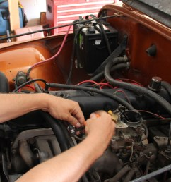 remove the fuel lines vacuum advance line pcv throttle linkages and electric choke wire from the old carburetor  [ 1200 x 770 Pixel ]