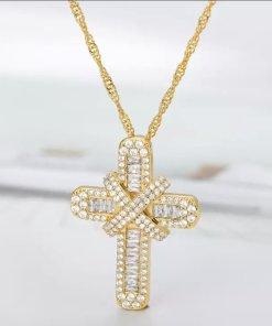 Χρυσό κολιέ με σταυρό με επίστρωση απο ζιρκόν