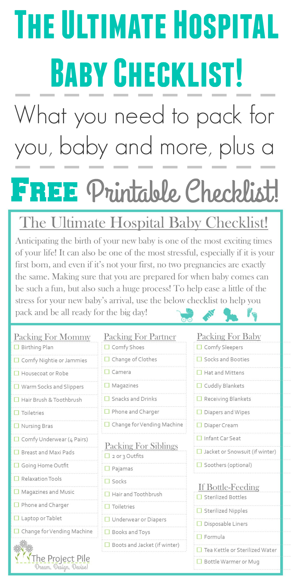 The Ultimate Hospital Baby Checklist! - TheProjectPile ...