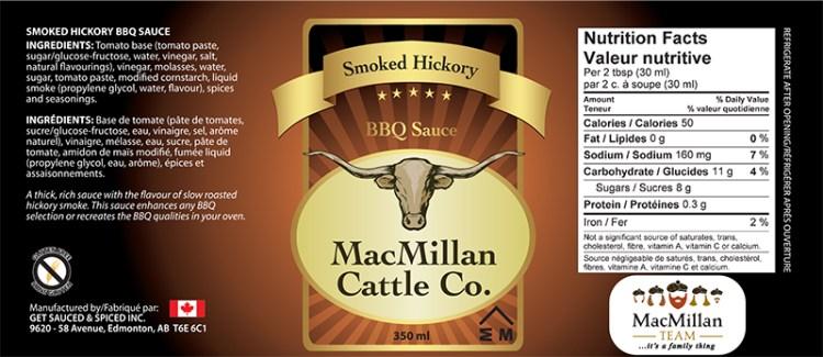 MacMillan Smoked Hickory BBQ Sauce label