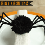 DIY Fuzzy Spider Napkin Rings