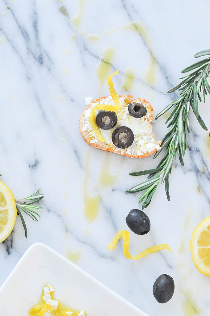 Goat Cheese Bruschetta with Lemon & Rosemary Infused Olive Oil