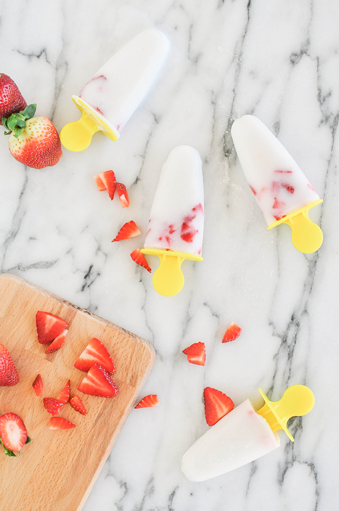 Strawberry & Coconut Popsicles