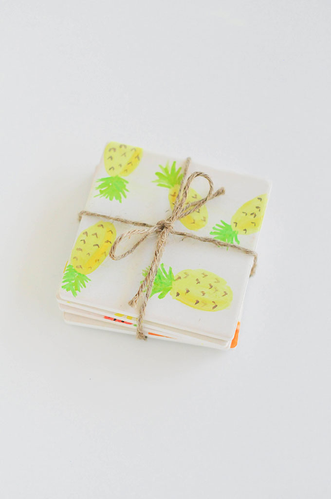 DIY Watercolor Fruit Coasters